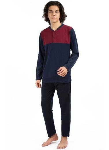 Akbeniz Erkek Lacivert Kırmızı Pijama Takım 6695 Lacivert